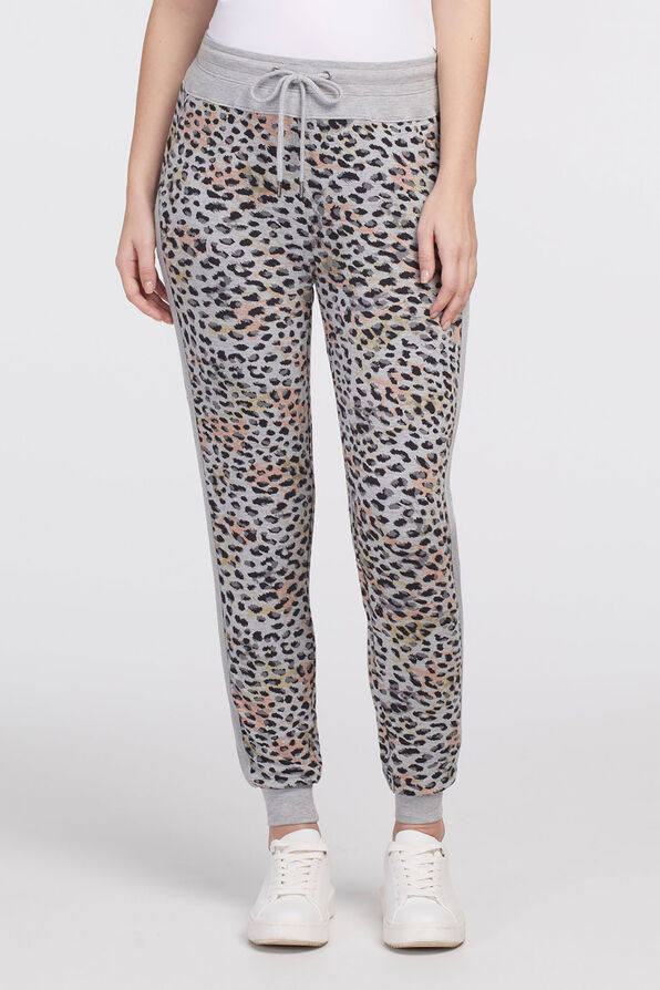 Leopard Ankle Chic Joggers, Grey, original image number 0