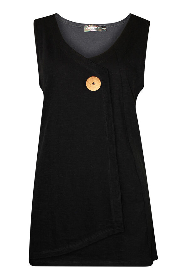 Cotton Faux Crossover Sleeveless Top, Black, original image number 0