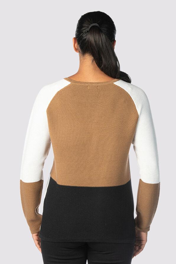Vosh Colorblock Sweater, Tan, original image number 5