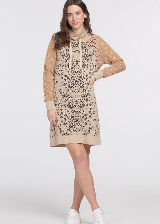 Intarsia Sweater Dress, Pink, original