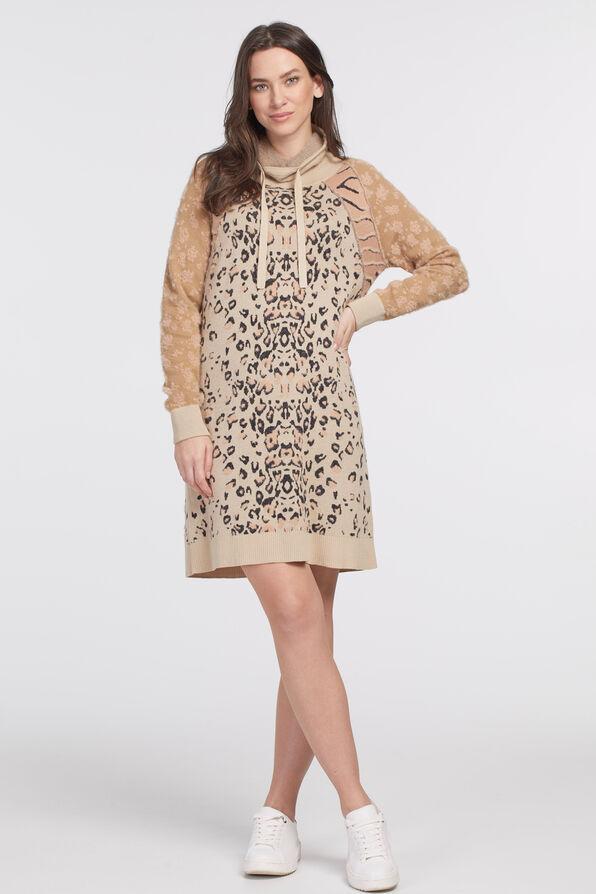Intarsia Sweater Dress, Pink, original image number 0