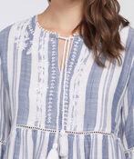 Boho-Chic Floral Striped Top, Denim, original image number 2