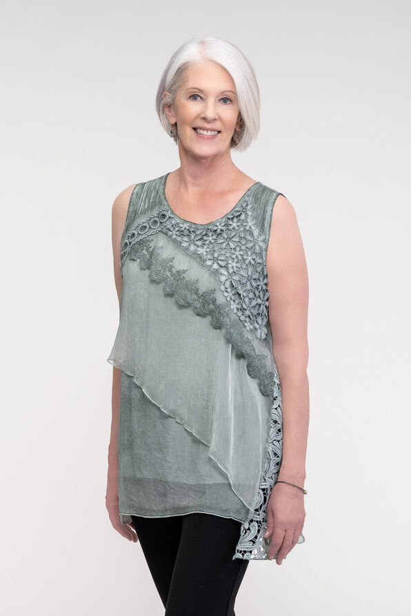 Applique Sleeveless Blouse, Sage, original image number 0
