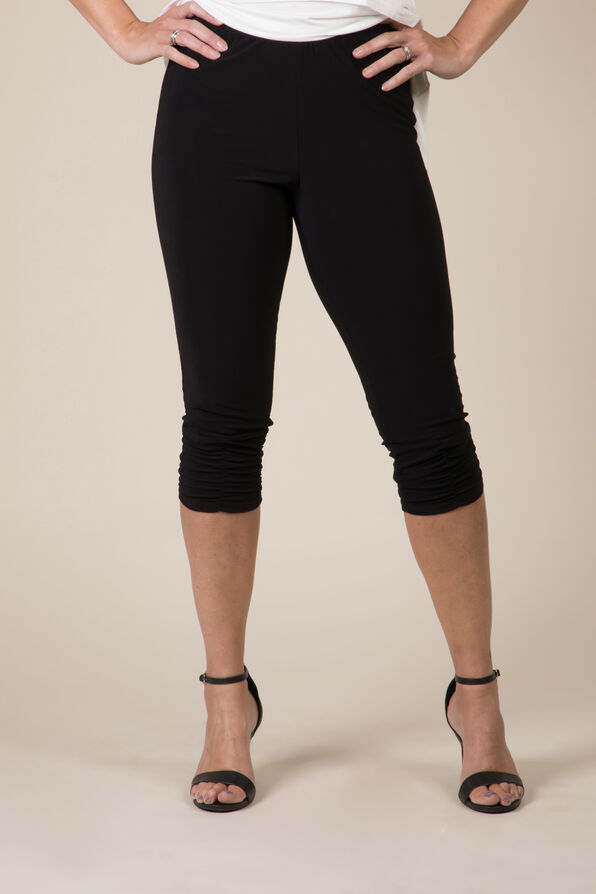 Ruched Leg Capri, Black, original image number 3