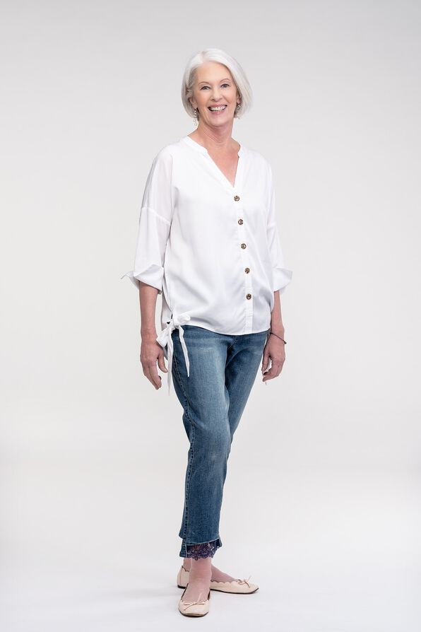 Button Front Blouse with Side Ties and 3/4 Sleeves, White, original image number 1