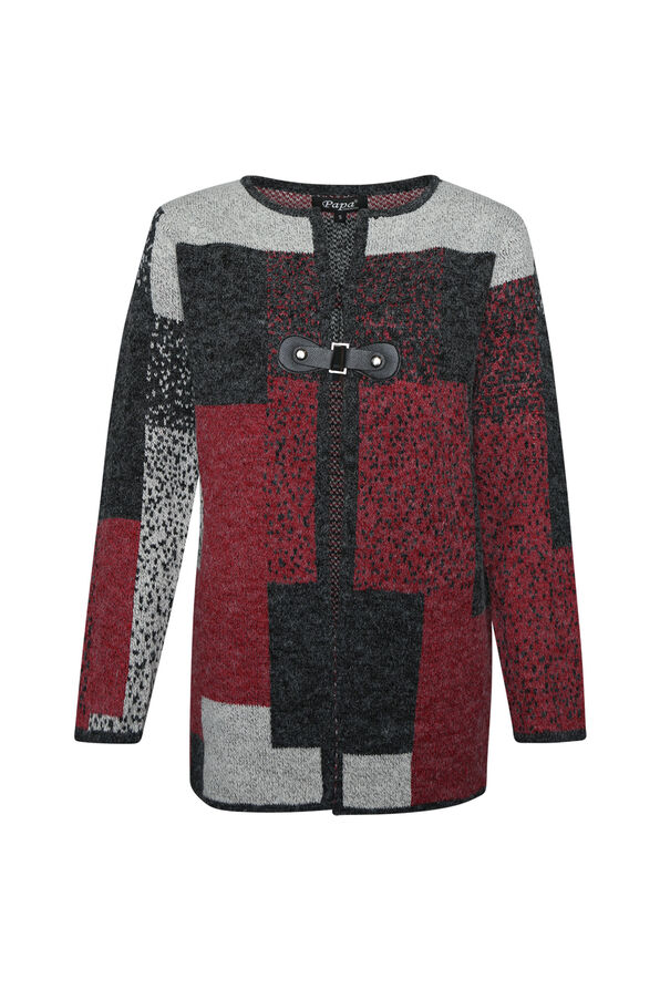 Patchwork Open Front Tab Closure Sweater Cardigan, Red, original image number 0