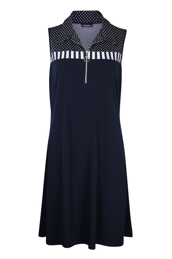 Fit and Flare Dress with Mid-Zip and Collar, Navy, original image number 0