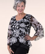 Lace Top with Flared Sleeves, Black, original image number 0