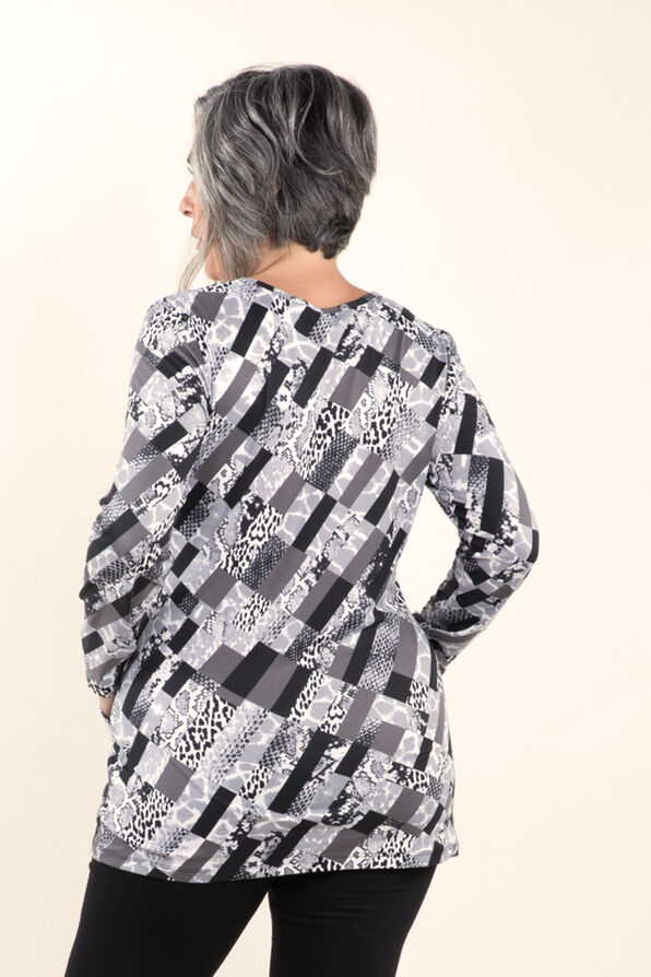 Printed Long Sleeve Tunic, Grey, original image number 1
