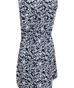 Zip Front Drawstring Waist Sleeveless Dress, Navy, original image number 1