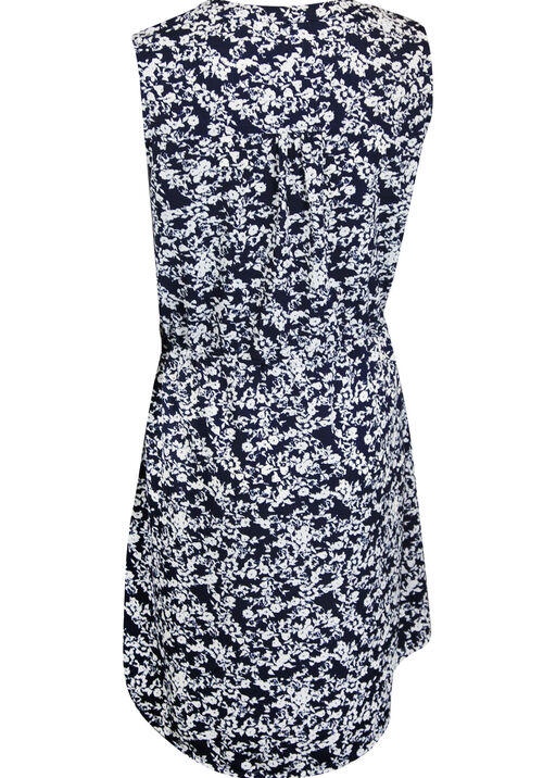 Zip Front Drawstring Waist Sleeveless Dress, Navy, original