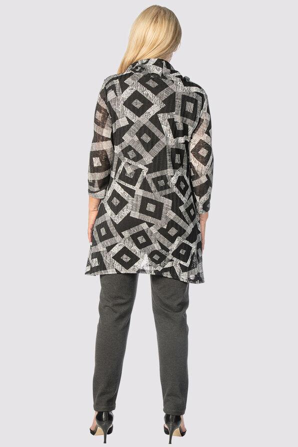 Geometric Cowl Top, Black, original image number 3