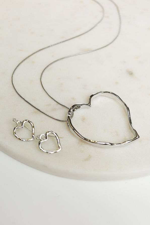 Long Hammered Heat Pendant Necklace Set, Silver, original image number 2