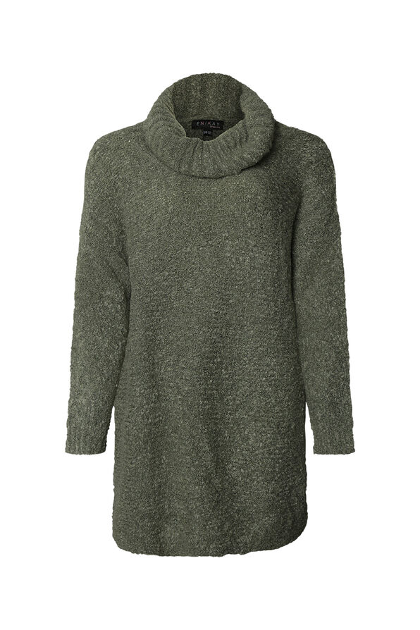 Vi One Size Sweater with Cowl Neck , Olive, original image number 0