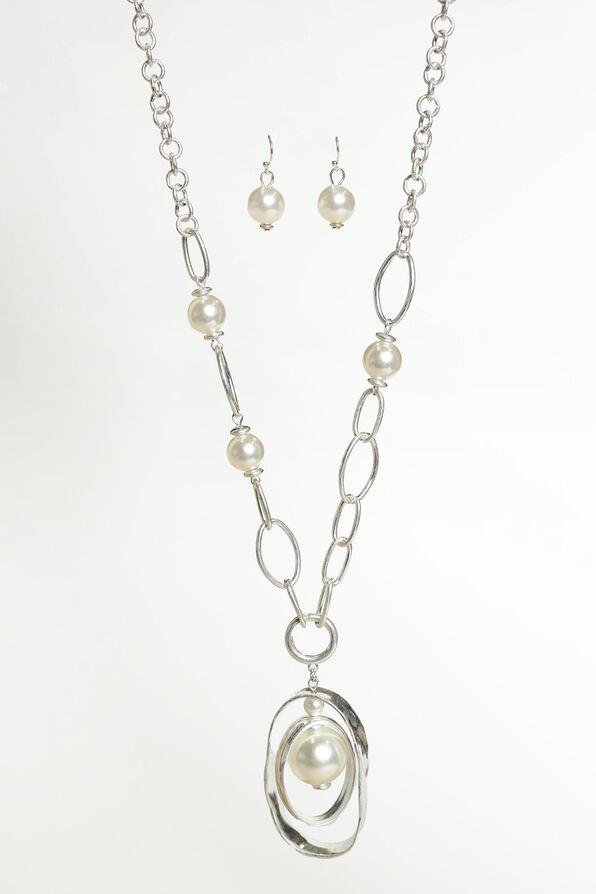 Double Drop Long Necklace Set , Silver, original image number 0