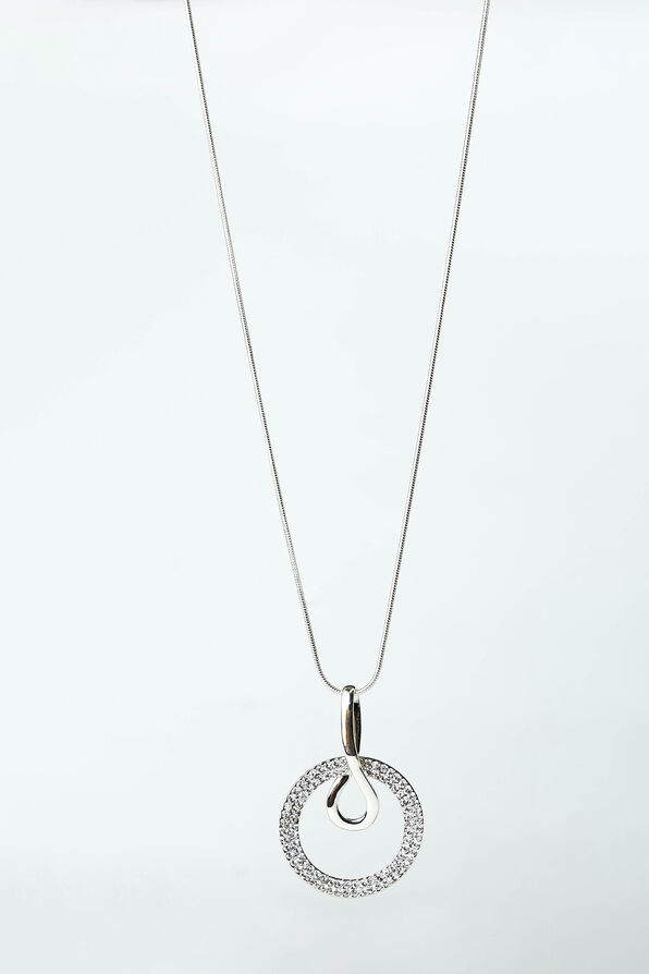 Crystal Circle Pendant Necklace, Silver, original image number 0