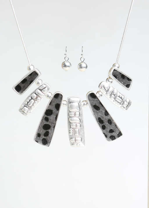 Cheetah Statement Necklace Set  , Silver, original