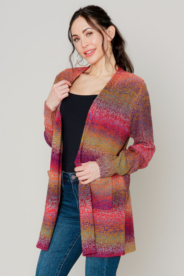Streifen Cardigan Sweater, Berry, original image number 0