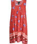 Floral Print Sleeveless Tunic with Pintucks, Red, original image number 0