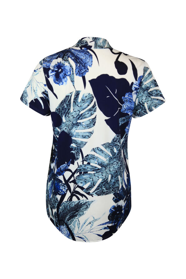 Short Sleeve Funnel Neck Leaf Print, Denim, original image number 1