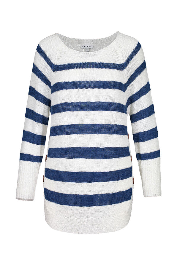 Striped Sweater with Crew Neck, Blue, original image number 2