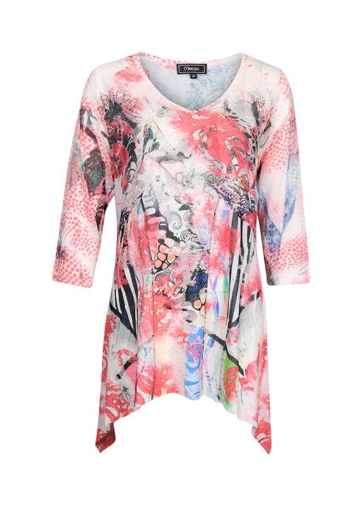 Mixed Print 3/4 Sleeve Burnout Shirt, Pink, original