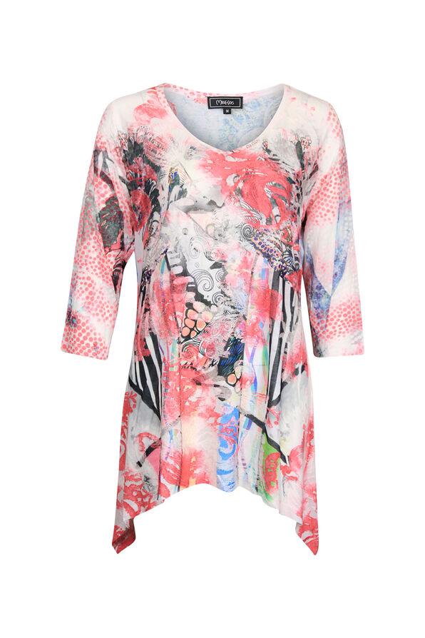 Mixed Print 3/4 Sleeve Burnout Shirt, Pink, original image number 0