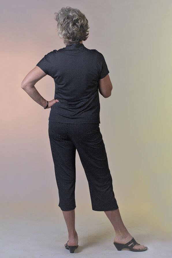 Polka Dot Funnel Neck Short Sleeve Top, Black, original image number 2