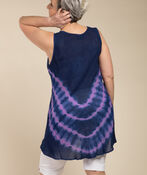 Embroidered Trim Tie Dye Sleeveless Tunic, Blue, original image number 1