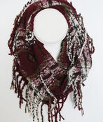 Multi Tone Plaid Boucle Infinity Scarf, , original image number 2