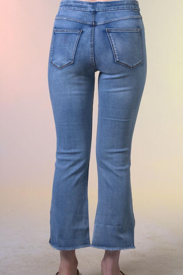 Embellished Cut-Off Cropped Wide Leg Jean, Blue, original image number 2