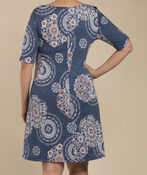Medallion Print Swing Dress, Denim, original image number 2
