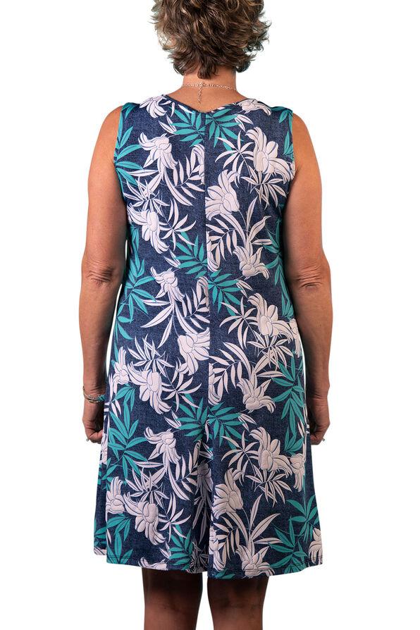 Sleeveless Panel Dress with Puff Print, Blue, original image number 1