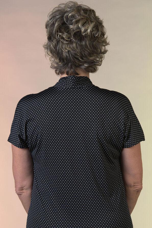 Polka Dot Funnel Neck Short Sleeve Top, Black, original image number 1