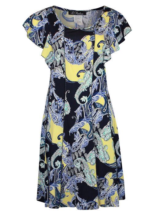 Flutter Sleeve Fit and Flare Dress, Navy, original