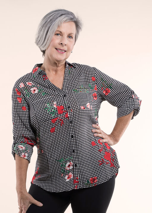 Floral Gingham Checked Blouse, , original