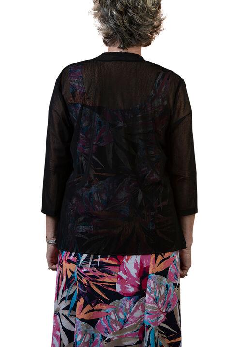 3/4 Sleeve Mesh Drape Front  Cardigan, Black, original
