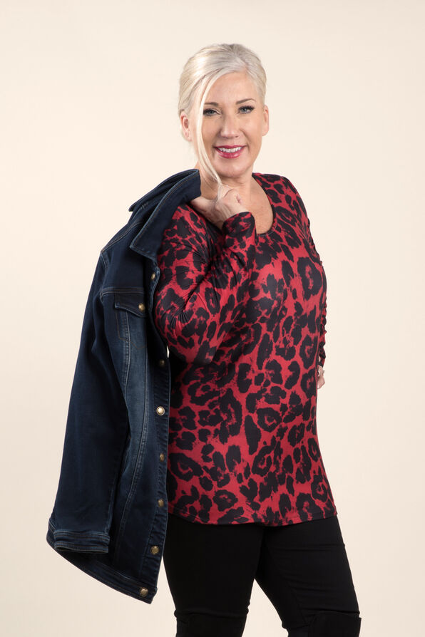 Top with Long Sleeves and Scoop neck, Red, original image number 2