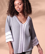 V-Neck Sweater with 3/4 Sleeves, Green, original image number 1