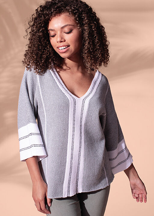 V-Neck Sweater with 3/4 Sleeves, Green, original