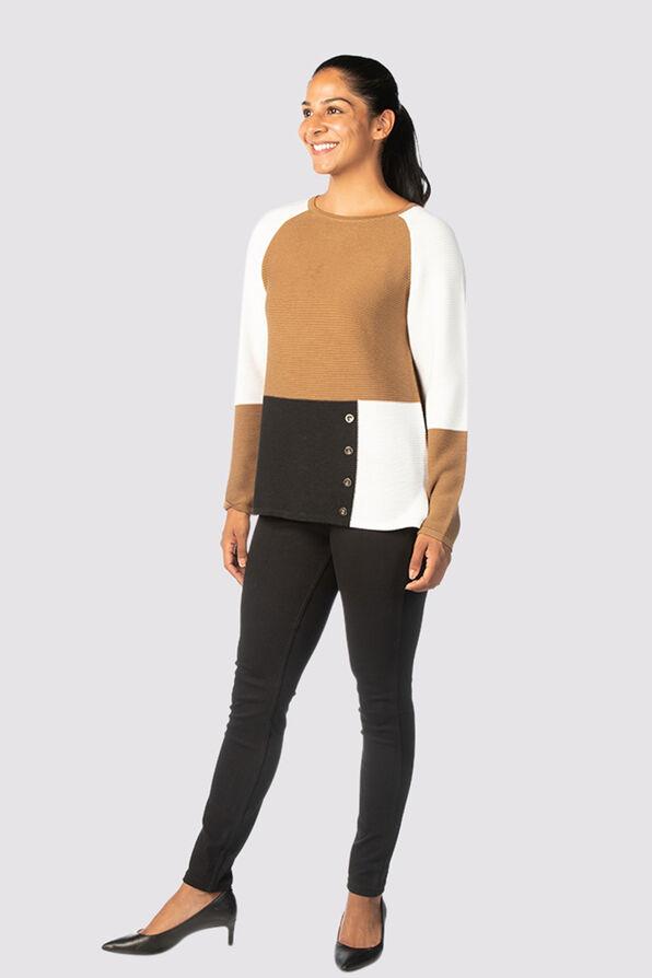 Vosh Colorblock Sweater, Tan, original image number 1