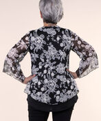 Lace Top with Flared Sleeves, Black, original image number 1