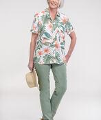 Hawaiian Print Camp Shirt, Green, original image number 1