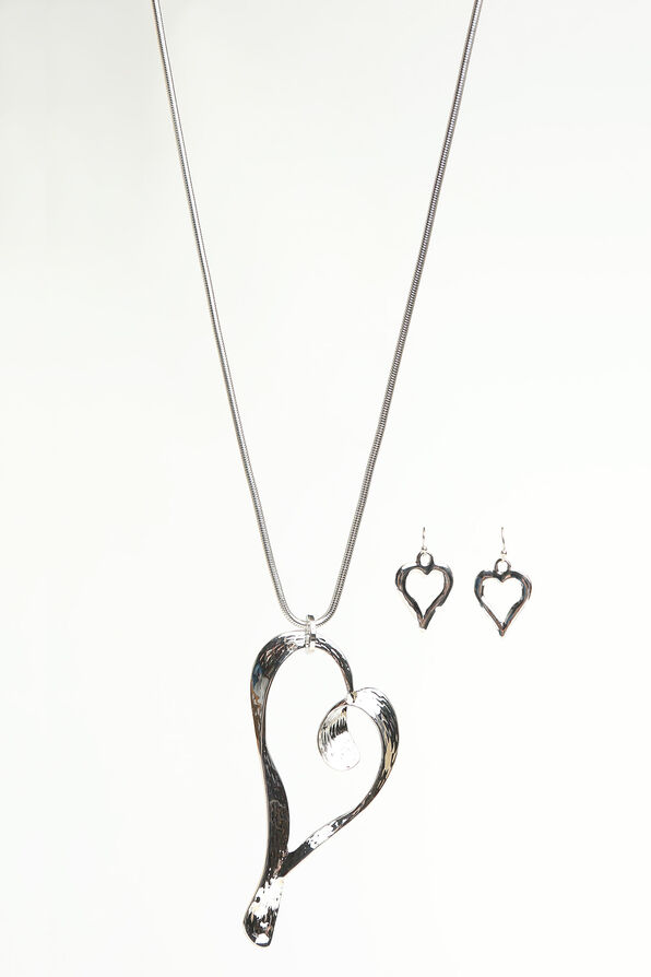 Open Heart Statement Necklace Set, Silver, original image number 0
