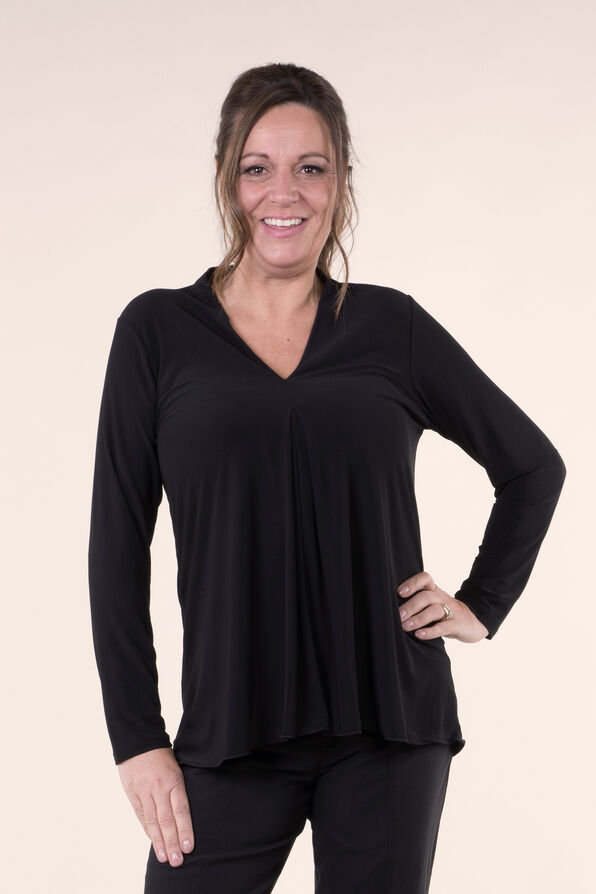 Solid Stretch Knit Top, , original image number 0