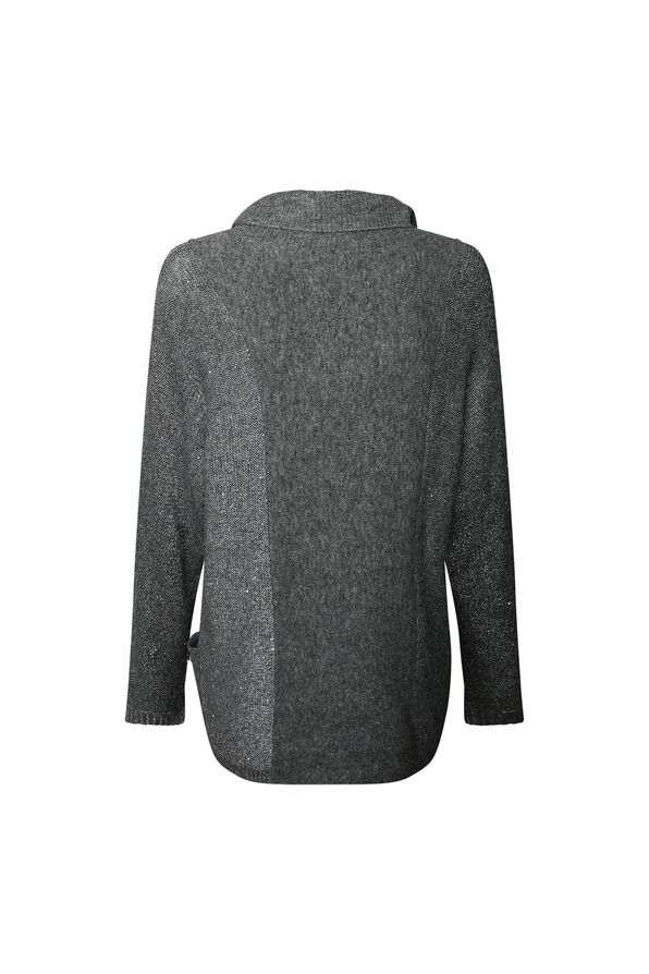 Sequins Dusted Turtle Neck Sweater, Charcoal, original image number 1