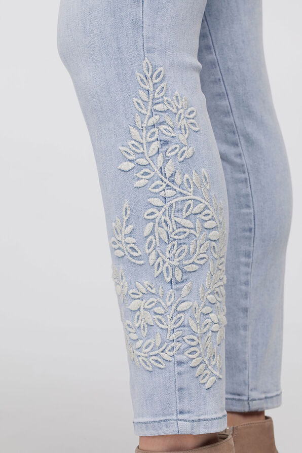Ivory-Floral Embroidery Jeggings, Denim, original image number 2