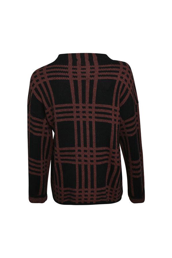 Plaid Mock Neck Sweater, Rust, original image number 1