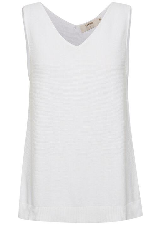 Cream Sillar Double V-Neck Sweater Tank, White, original