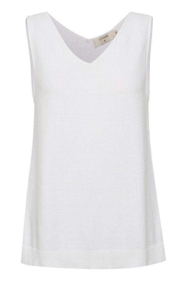 Cream Sillar Double V-Neck Sweater Tank, White, original image number 0